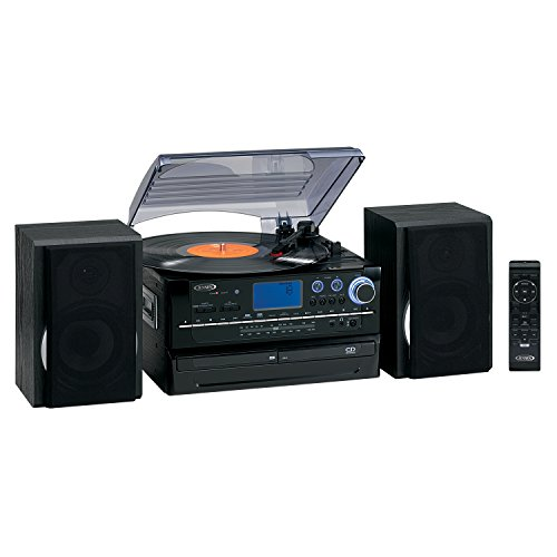 JENSEN JTA-980 3-SPEED TURNTABLE 2-CD SYSTEM WITH CASSETTE amp; AM/FM STEREO RADIO
