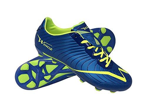 Fußball Schuhe Wingz Outdoor Fußballschuh Stiefel Ausgezeichnete Stabilität und Ballkontrolle Blaues Limones Grün