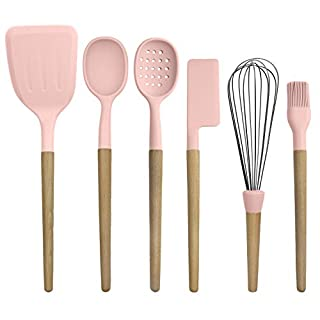 Country Kitchen 6 pc Non Stick Silicone Utensil Baking Set with Rounded Wooden Handles for Cooking and Baking - Pink