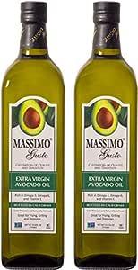 Massimo Gusto Extra Virgin Avocado Oil, 1 Liter (2 Pack)