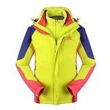 Reopen Girl's Outdoor 3 in 1 Sports Jacket Mountain Waterproof Ski Jacket Inner Detachable Fleece Coat (120/56A, Green)