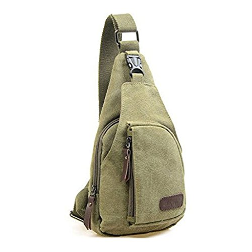 Lifelj Retro Canvas Chest Shoulder Satchel Sling Messenger Bag Multifunctional Unisex with Soft Zipper Fit for iPod, iPad,iPhone4 5 5S 6 6s Plus Android Smart Phone (army green)