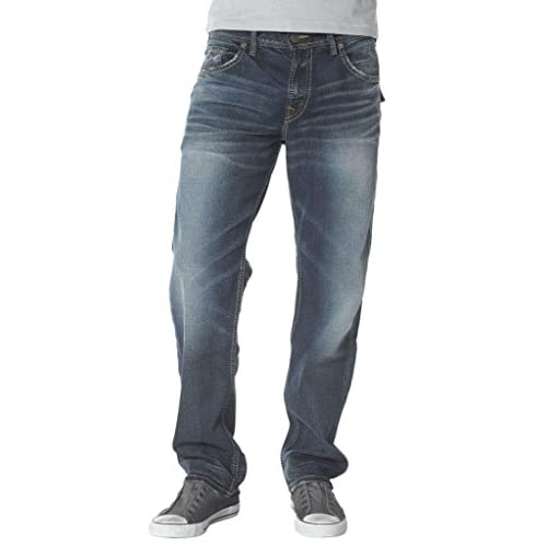 Silver Jeans Men Hunter Flap Relaxed Fit Tapered Leg Distressed in