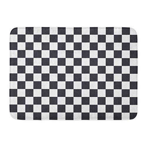 Emvency Doormats Bath Rugs Outdoor/Indoor Door Mat Checker Black and White Squares Pattern Checkerboard Flag Abstract Bathroom Decor Rug 16