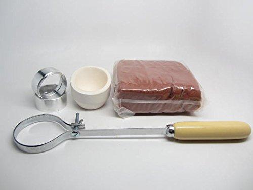 Delft Clay Set & Melting Crucible Handle Torch Hi-Back Round Dish Gold -