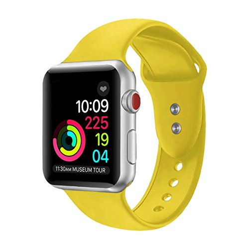 Sport Band For Apple Watch,Soft Silicone Strap Replacement Wristbands For Apple Watch Sport Series 3 Series 2 Series 1 NIKE+ Sports and Edition (Yellow 42mm M/L) from Straper