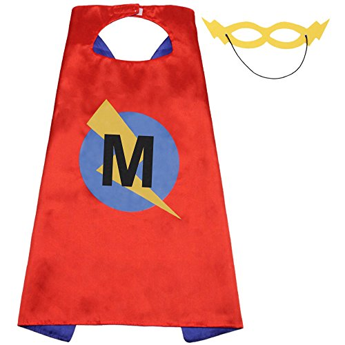 LYNDA SUTTON Superhero Capes Kids Initials of Name Birthday Cape for Party Boys Girls Letter Capes (Capes-M)