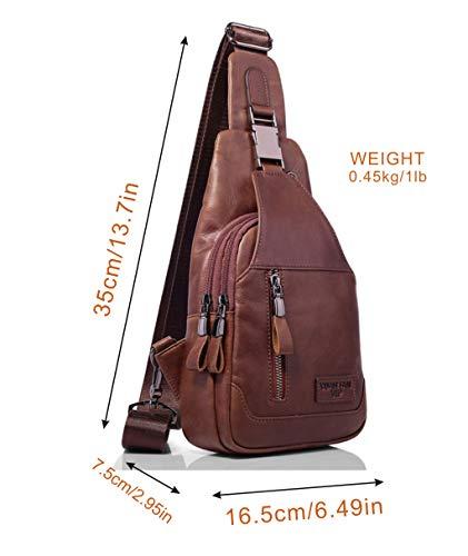 fae20aff9115 Backpacks - Men's Leather Sling Bag Chest Bag One Shoulder Bag ...