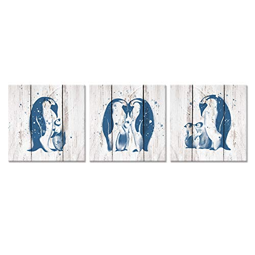 - ZingArts 3 Pieces Animals Painting Canvas Wall Art Teal Blue Penguin Family Love On Vintage Wood Background for Living Room Bedroom Bathroom Stretched and Framed Ready to Hang 12x12inchx3pcs