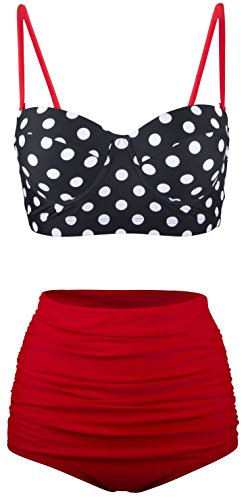 Angerella Polka High Waisted Cute Bikinis Swimwear Bathing Suit (BKI031-R1-L), Red-Two, US6-8=Tag Size L
