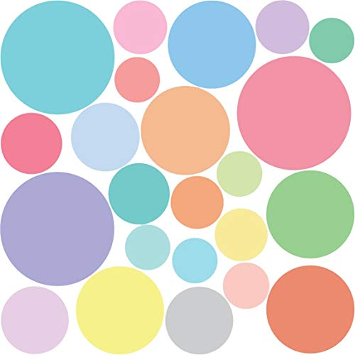 Repositionable Pastel - 23 Dots Decals Multi-Sized Sorbet Pastel Colors Polka Dots Fabric Wall Decals (Repositionable)
