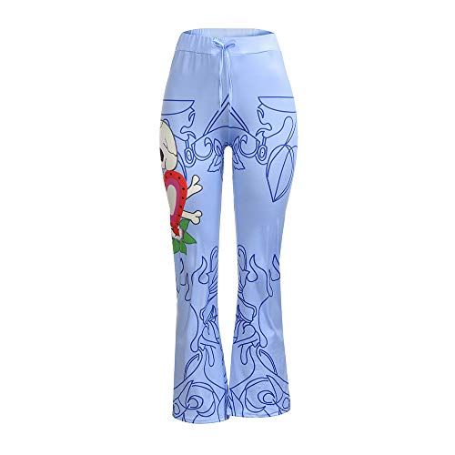 DEATU Hot Sale! Halloween Women Pants Ladies Chic Casual Beautiful Print Flowy Wide Leg High Waist Long Pants(Blue ,XXXL)