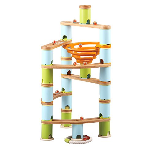 Fat Brain Toys 119 pc Bamboo Builder Marble Run