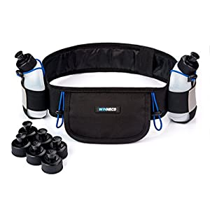 Running Hydration Belt with 2 Water Bottles (BPA Free, 9oz Each) - Fits iPhone 6, 7 Plus - Reflective Waterproof Running Gear - Men or Women