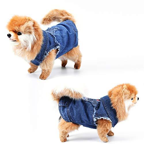 (April Pets Dog's Denim Vest Denim Sleeveless Jacket for Small Dogs (Pattern-3, XS Chest Girth 11