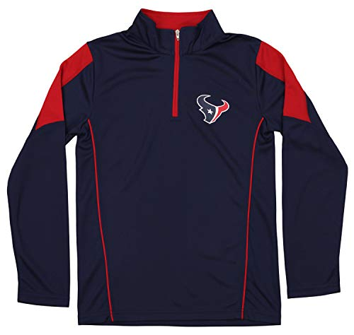 Outerstuff NFL Youth Boys (8-20) Performance 1/4 Zip Long Sleeve Pullover, Houston Texans Small (8)
