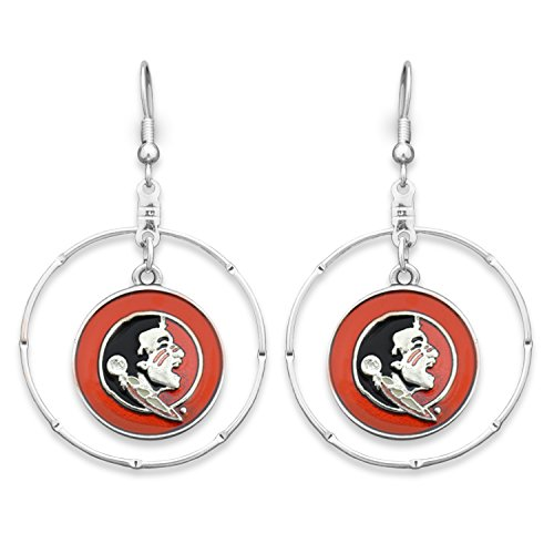 Florida State Seminoles Silver Tone Earrings with an Iridescent Garnet, Black, and Silver Seminole Logo Charm Inside Silver Tone Ring (State Florida Logo Seminoles Charm)