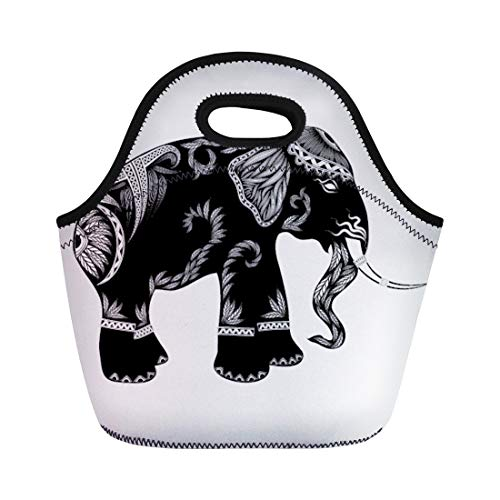Semtomn Neoprene Lunch Tote Bag Ethnic Tribal Totem Elephant Animal Abstract Angular Artist Asia Reusable Cooler Bags Insulated Thermal Picnic Handbag for Travel,School,Outdoors,Work