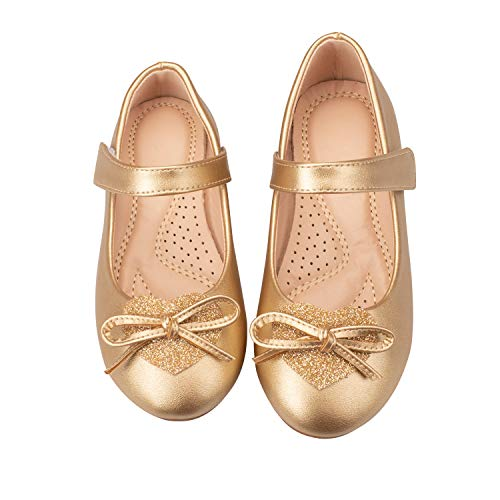 ADAMUMU Toddler Dress Shoes Ballerina Flat Mary Jane Shoes for Girls Glitter Shoes for Princess Wedding Party Uniform School Daily Wear,8M US Toddler,Gold -