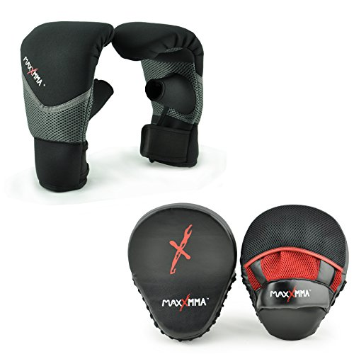 MaxxMMA Boxing MMA Training Kit - Pro Punch Mitts + Washable Neoprene Bag Gloves (Black/Red, L/XL)