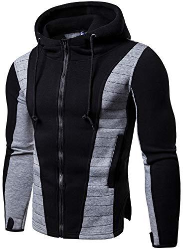 Men's Full Zip Color Splicing Hoodie Sweatshirt Hooded, Black, US L=Tag XL