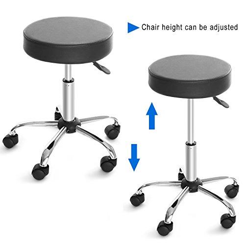 Cnlinkco Round Height Adjustable Rolling Swivel Salon Bar