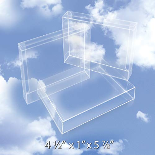 Crystal Clear Boxes - 50 Crystal Clear Boxes (12 Mil) - Protects Photos, Party Favors, A2 Envelope Protectors - Easy Set-up Plastic Box & Stationery Card Case - Bulk Packaging & Greeting Card Box BOX4-1/2X1X5-7/8-B50