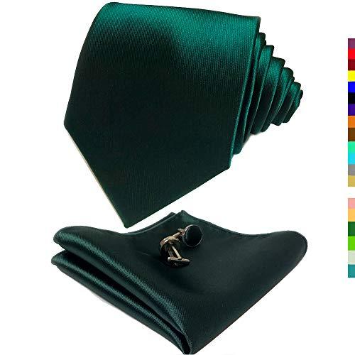 Forest Silk - CANGRON Men Forest Green Tie Set Necktie with Pocket Square Cufflinks Giftbox LSC8SL