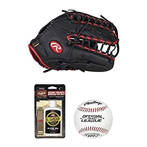 Rawlings Select Pro Lite Mike Trout Youth Baseball Glove with Trap-Eze Web (12.25″ – Right Hand Throw) and Maintenance Kit – Includes Glove Break-in Kit, League Baseballs and Rosin Bag – Value Bundle