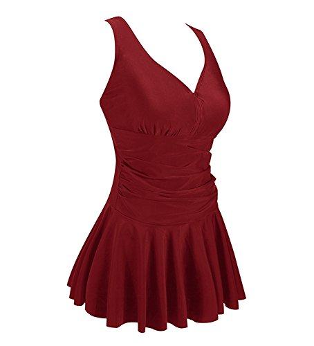 MiYang Women's Plus-Size Flower Printing Shaping Body One Piece Swim Dresses Swimsuit Wine Red 2XL