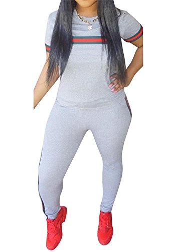 Women 2 Pieces Outfits Short Sleeve Top Sweatshirts and Bodycon Long Pants Set Tracksuits Sweatsuits Grey XXXL