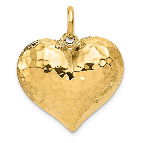 Mireval 14k Yellow Gold Hollow Polished Hammered Medium Puffed Heart Charm (24 x 27 mm)