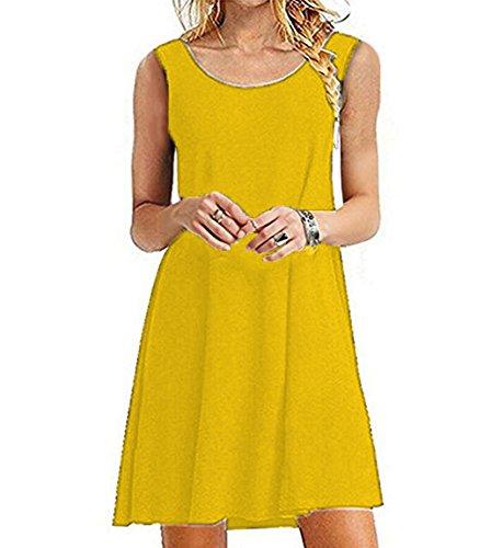 Women's Summer Swing Casual Sleeveless T-shirt Dress Loose Tank Plus Size Dresses Sundress Jo&Sha (1X Yellow)