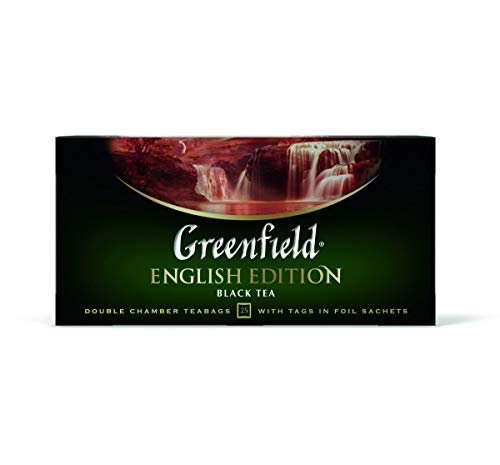 Greenfield English Edition Сlassic Collection Black Tea Finely Selected Speciality Tea 25 Double Chamber Teabags With…
