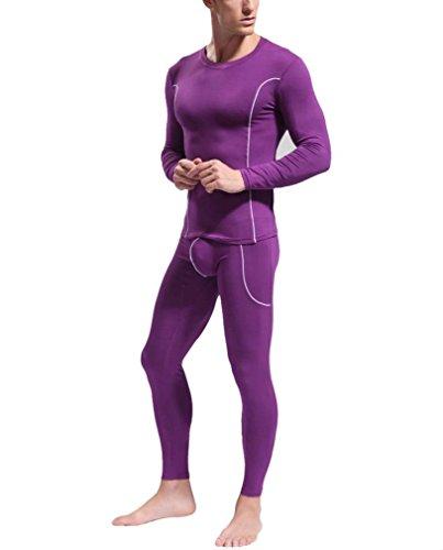 HOEREV Mens Modal Thermal Underwear Set Top /& Bottom Suit