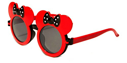 WebDeals - Kids Mouse Ear Round Flip Out Sunglasses (Red/Black - Sunglasses Cute Girl