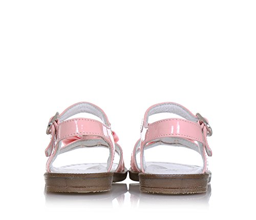 MISS GRANT - Sandale rose en cuir brillant, made in Italy, avec fermeture avec boucle, fille