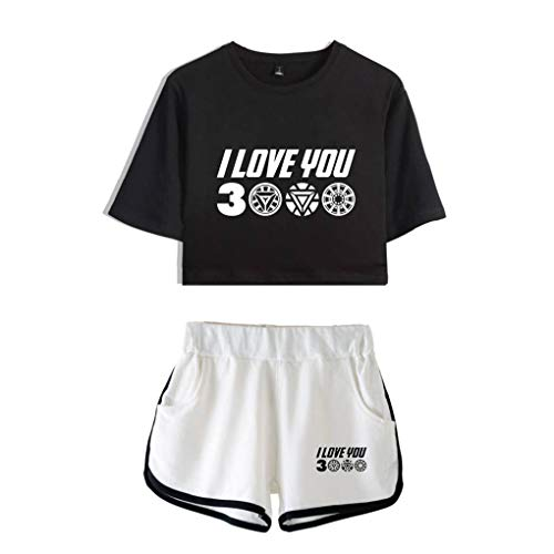Memoryee I Love You 3000 Times Printed Crop Top T-Shirts and Shorts Clothing Set 2Pcs Tracksuits Outfit for Girls Style9 XS