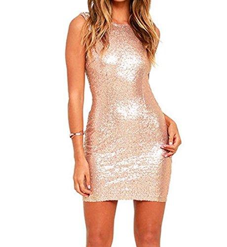 Vestito Corta Paillettes Voga Manica Partito Mini Fila donne Elegante Club Coolred Oro In P4qtxS