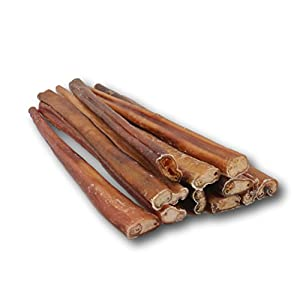 12-inch Standard Bully Sticks by Top Dog Chews (12 Pack). Free Range, Grass Fed Angus Beef - Hand-inspected and USDA/FDA Approved.