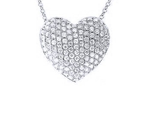 18k Over Sterling Silver Pendant (18k Gold Over Sterling Silver White Cubic Zirconia Pave Set Heart Pendant Necklace)