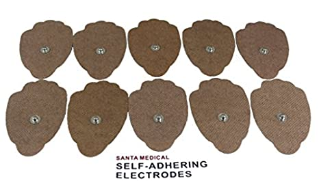Santamedical 10 Snap-On Re-Usable Tan Carbon Electrode Pads with Premium Gel (Hand Shape) - Satisfaction Guaranteed