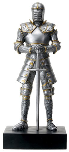 - Silver Colored Italian Knight Design Standing Statue in Full Armor