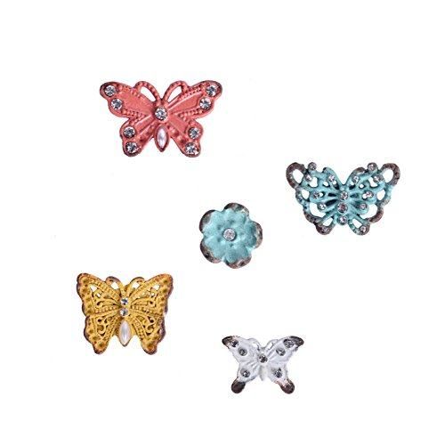 NIKKY HOME Pewter Decorative Shabby Chic Butterfly and Flower Magnets Stickers for Fridge Set of 5