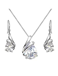 EleQueen 925 Sterling Silver Full Prong Cubic Zirconia Ribbon Teardrop Bridal Necklace Hook Earrings Set Clear