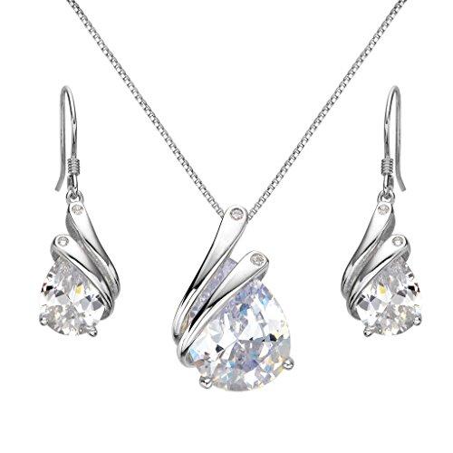 EleQueen 925 Sterling Silver Full Prong Cubic Zirconia Ribbon Teardrop Bridal Necklace Hook Earrings Set - Ribbon Earrings Silver