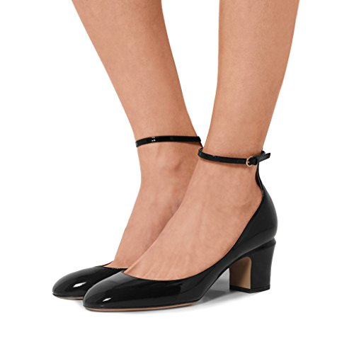 Black Retro Pumps (FSJ Women Retro Ankle Strap Mid Heels Dress Pumps Almond Toe Patent Leather Shoes Size 7 Black)