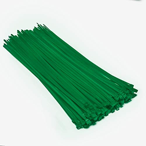 Multi-Purpose Nylon Zip Ties - (100 Piece) Self Locking Cable Ties with Ultra Strong Plastic 8, (Multiple Colors to Choose from - Green)