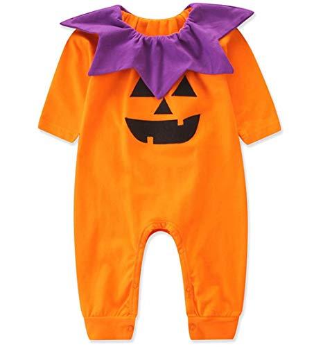 KimSoong Infant Baby Girls Boys Halloween Costumes Pumpkin Face Bodysuit Long Sleeve Ruffled 3D Cartoon Romper Outfits Orange -