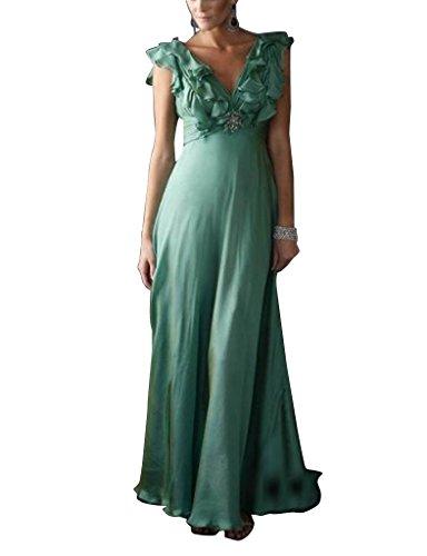 Ausschnitt Spalte V GEORGE BRIDE Tuerkis Chiffon bodenlangen Mantel Abendkleid ZHWWXtnq